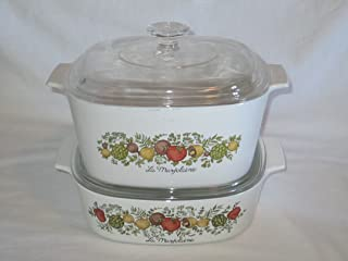 4 PIECE SET - Vintage Corning Ware Spice O' Life Covered Casserole Baking Dishes