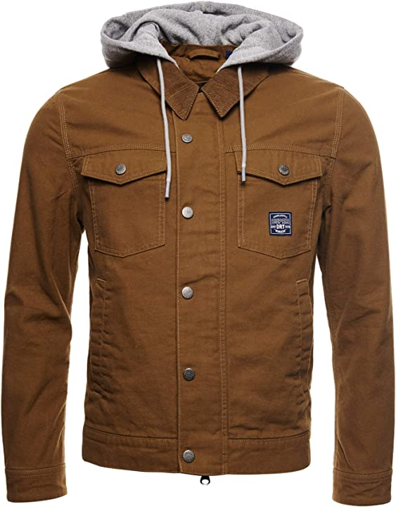 Giacca superdry uomo giacca trucker con cappuccio in tela hacienda 4005123