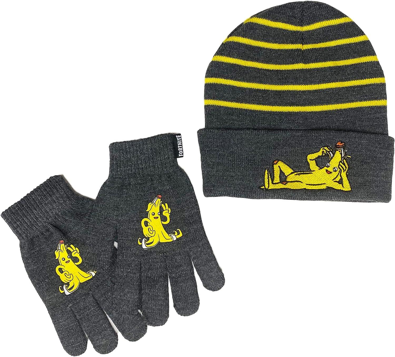 Fortnite Big Boys Peely Banana Beanie Hat and Gloves Set