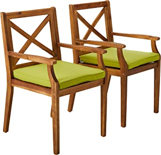 Christopher Knight Home 304683 Peter   Outdoor Acacia Wood Dining Chair with Cushion   Set of 2   Teak/Green
