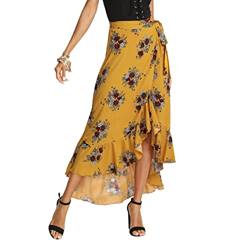 f2225b5583bf2 Milumia Women's Bohemian Floral Print Wrap Skirt Long Maxi Skirt