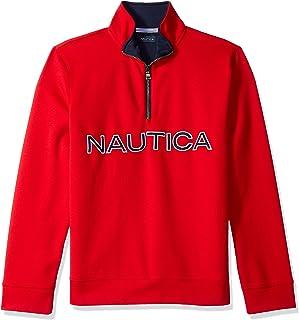 Nautica mens Chest Logo 1/4 Zip Fleece Sweatshirt Sweatshirt