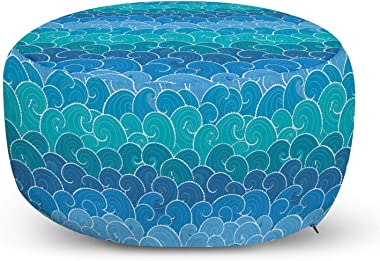 Lunarable Nautical Ottoman Pouf, Doodle Style Waves with Curvy Lines Ocean Storm Abstract Seascape, Decorative Soft Foot Rest with Removable Cover Living Room and Bedroom, Blue Teal and Turquoise