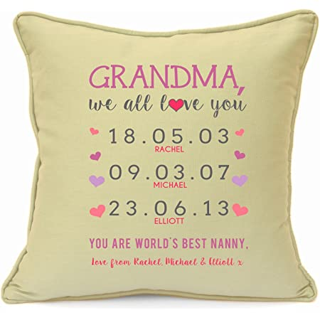 Personalised Presents Gifts For Grandma Grandmother Nanny Granny From Grandson Grandaughter Birthday Mothers Day Christmas Xmas Family Names With Dates Cushion Cover 18 Inch 45 Cm Special Unique Ideas Amazon Co Uk Kitchen