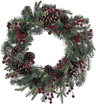 """CC Christmas Decor 24"""" Green and Red Pre-Lit LED Berry Pinecone Indoor/Outdoor Wreath"""