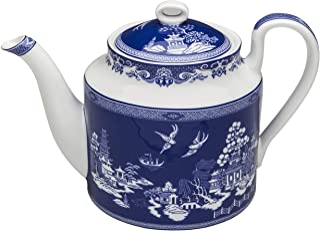 Grace Teaware Bone China Blue Willow Teapot 4-Cup