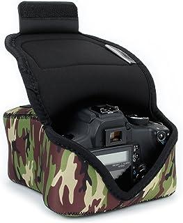USA Gear Funda Para Cámara DSLR con Protección de Neopreno Presilla Para Cinturón y Almacenamiento de Accesorios - Compatible con Nikon D3400 Canon EOS Rebel SL2 Pentax K-70 y más - Camuflaje Verde