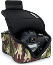 USA GEAR DSLR Camera Sleeve Case (Camo Green) with Zippered Accessory Storage, Flexible Neoprene and Holster Belt Loop - Compatible with Canon, Nikon, Sony, Olympus and Many More