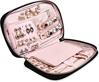"MoMA jewlwey Organizer Travel - 9.8""L x 6.1""W x 1.9""H Jewelry Case - Jewelry Storage Box for Necklace, Earrings, Rings, Bracelets - Women Quilted Jewelry Box Organizer - Girl Portable Jewelry Case"