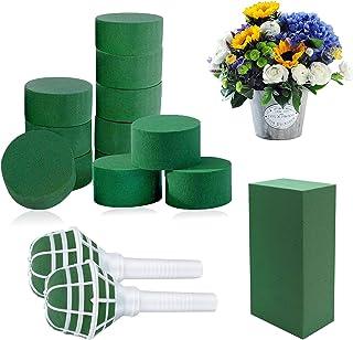 Woohome 18 PCS Kit d'Arrangement de Fleurs Bricolage, Vert Mousse Humide Floral, Porte Bouquet à Poignée Florale en Mousse...