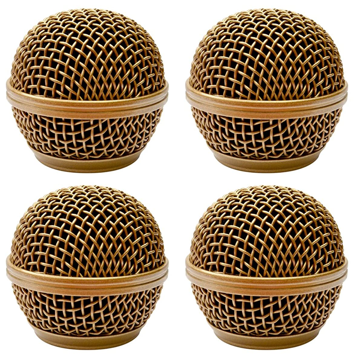 Seismic Audio - SA-M30Grille-Gold-4Pack - 4 Pack of Replacement Gold Steel Mesh Microphone Grill Heads - Compatible with SA-M30, Shure SM58, Shure SV100 and Similar