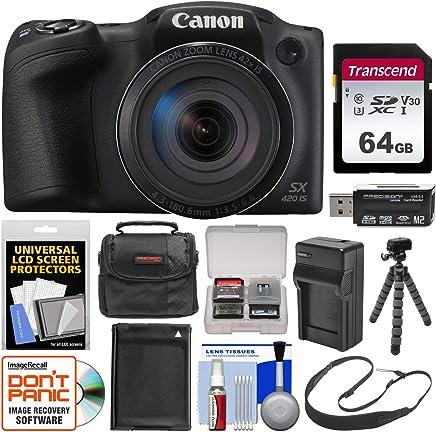 Canon PowerShot SX420 es una cámara digital Wi-Fi con tarjeta de 64 GB + funda + batería y cargador + trípode flexible + correa + kit