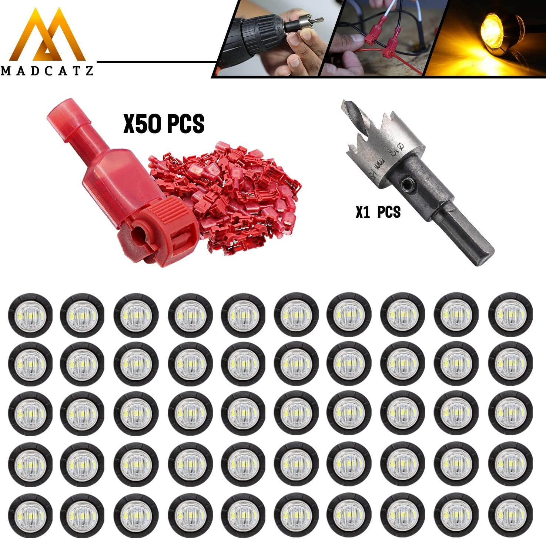 MADCATZ Kit 50 Pcs 3 4 Inch Round Si Clear DC Over item handling Phoenix Mall LED 12V Lens Amber