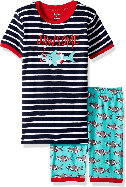 Hatley Boys' Organic Cotton Short Sleeve Appliqué Pajama Sets