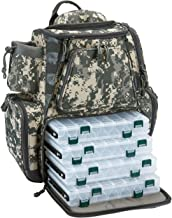 Piscifun Fishing Tackle Backpack with 4 Trays Large Waterproof Tackle Bag Storage with Protective Rain Cover and 4 Tackle Box(Khaki, Black and Camouflage)