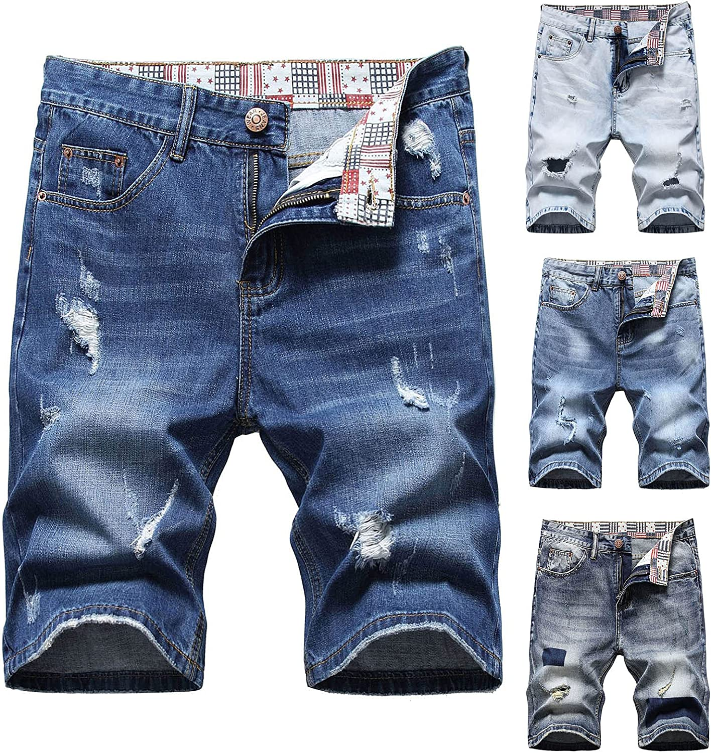 Maryia Mens Classic Relaxed Fit Ripped Jeans Retro Summer Casual Beach Loose Denim Shorts
