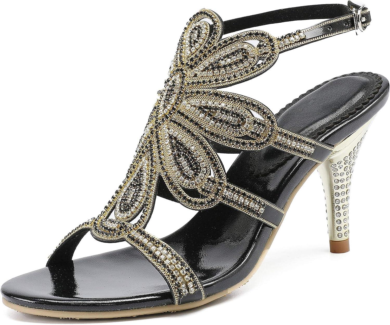 Yoo Prettyz Prettyz Prettyz kvinnor Rhinestones Evening klackar Open Toe Heeled Sandals med Shield Flowerpumpar  grossistaffär