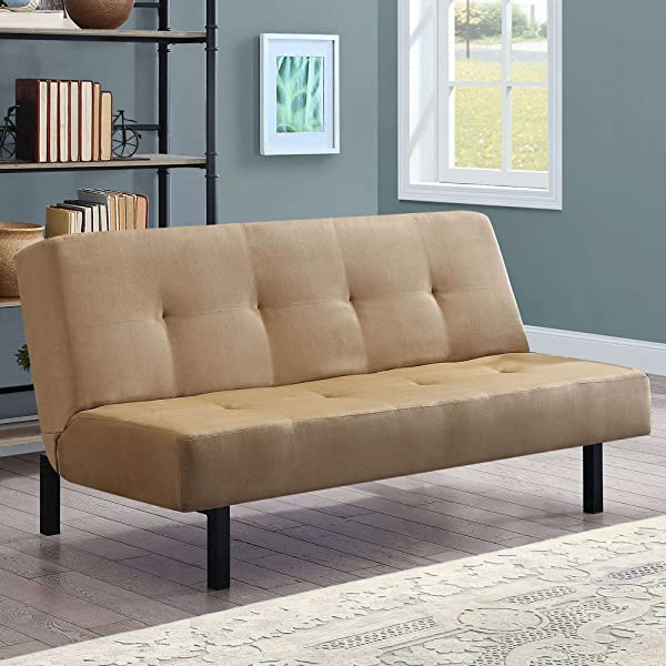 Tan Functional 3 Position Tufted Futon Padded Cushions Sturdy Square Metal Legs Metal Frame Plush Microfiber Upholstery Ideal As A Sofa Lounger Sleeper Amazing Comfortable