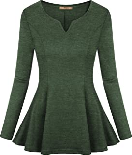 Miusey Women's Long Sleeve V Neck Pleated Fitted Tunic Peplum Tops