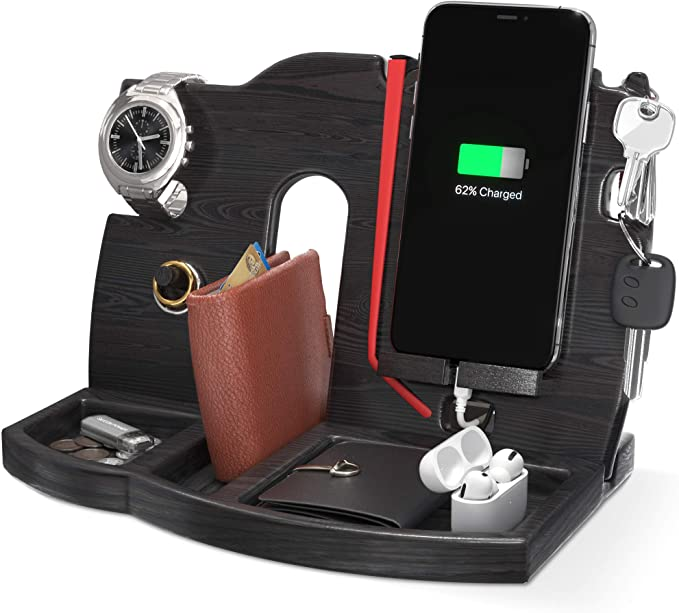 BarvA Wood Docking Station Tray Cell Phone Smartwatch Holder