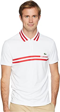 Lacoste Short Sleeve Pique Ultra Dry Fine Stripe w/ Jacquard Collar & Zip Front Placket