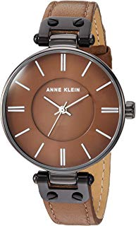 Anne Klein Women's Gunmetal and Mocha Brown Leather Strap Watch, AK/3445GYMO