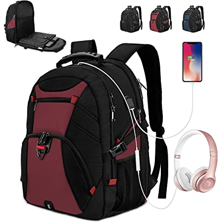 Crazy Punk Rock Laptop Backpack 17 Inch Business Travel Backpacks School Backpacks with USB Charging Port for Casual Hiking