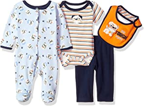 Watch Me Grow! by Sesame Street Baby-Boys Newborn 4 Piece Tough Puppy Pant Set