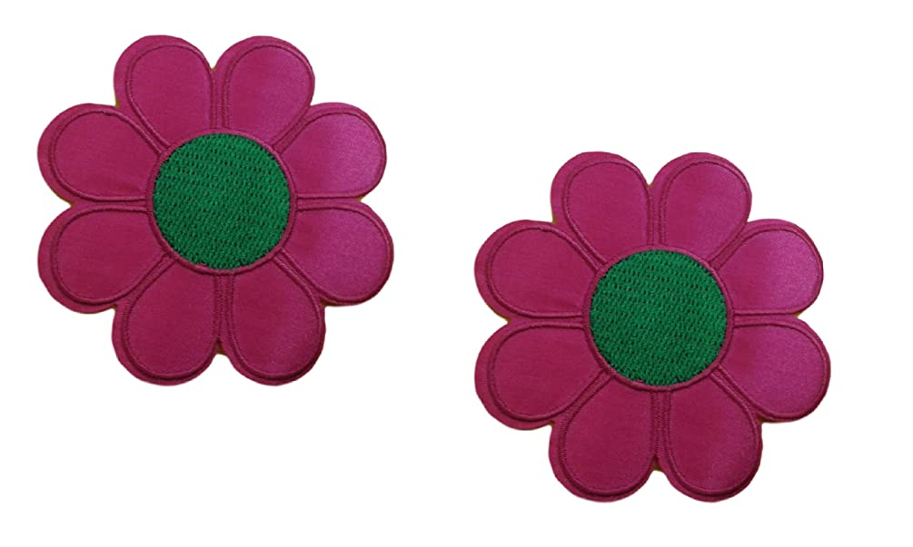 2 pieces PINK FLOWER Iron On Patch Fabric Applique Motif Children Decal 3 x 3 inches (7.5 x 7.5 cm)