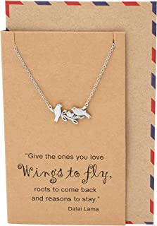 Little Birds on Branch Pendant Necklace for Women, Animal Pendant Necklace, Gifts for Moms, Sisters, Grandmoms, Family Jewelry comes with Inspirational Dalai Lama Quote