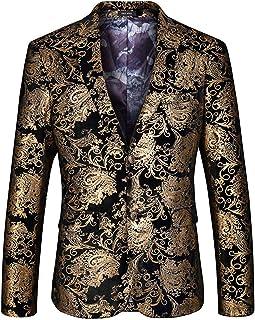 HaiDean Men's Blazer Bronzing Tuxedo Blazer Jacket Party Suit Modern Casual Leisure Slim Fit Gold Tuxedo Jacket Elegant Sl...