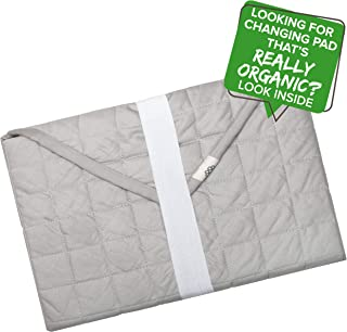 MakeMake Organics Organic Portable Changing Mat GOTS Certified Organic Cotton Portable Diaper Changing Pad Water Resistant Non-Toxic Diaper Clutch Changing Station Kit Compact Travel Mat (24x24, Gray)