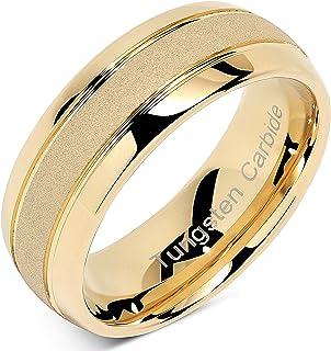 100S مجوهرات منقوشة مخصصة خواتم التنجستن للرجال النساء الذهب الزفاف الفرقة الرمال إنهاء قبة الحافة أحجام 6-16