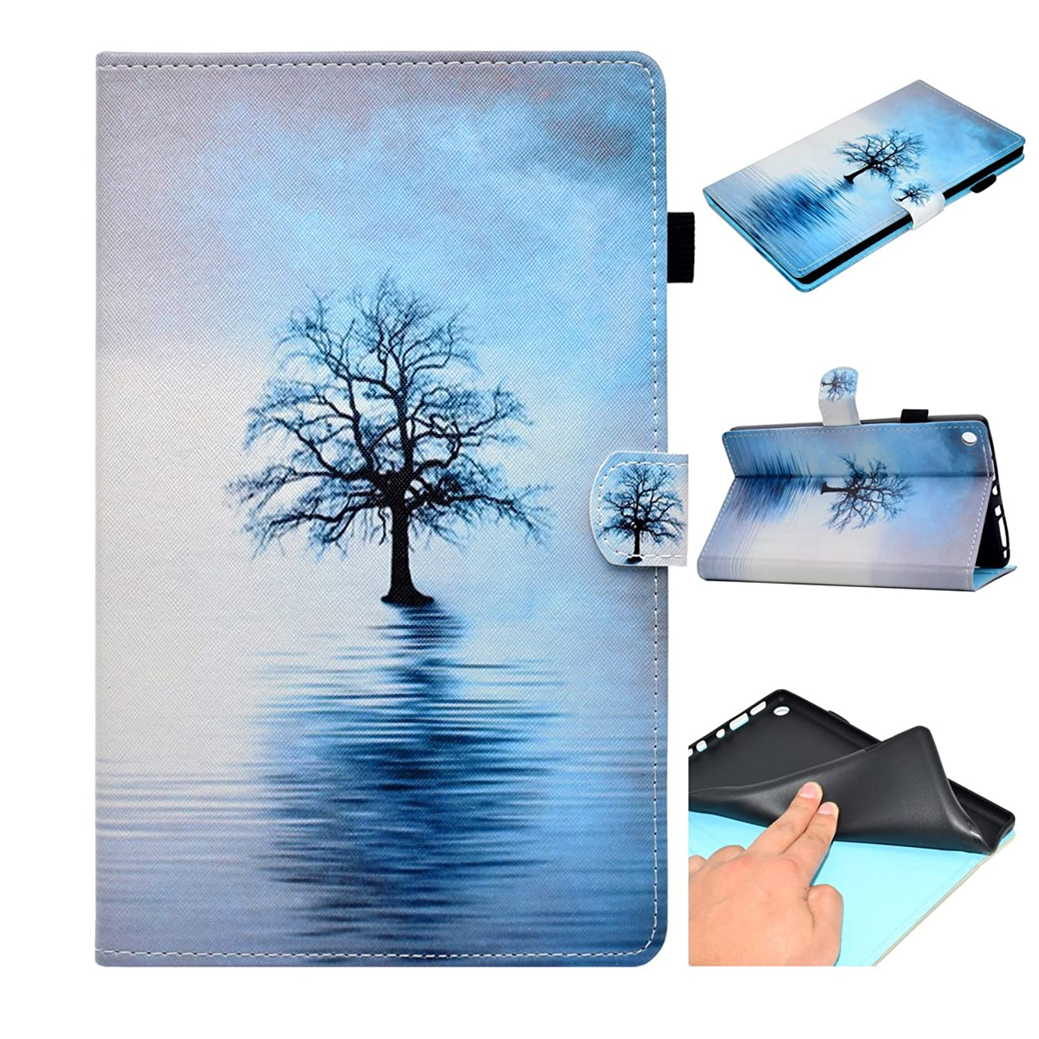 Dteck Case for Fire HD 8 Tablet 2018/2017/2016, Slim Lightweight PU Leather Magnetic Cute Flip Smart Stand Pocket Case Cover for All-New Kindle Fire HD 8 8.0 Inch 8th 7th 6th Generation-Tree in Sea