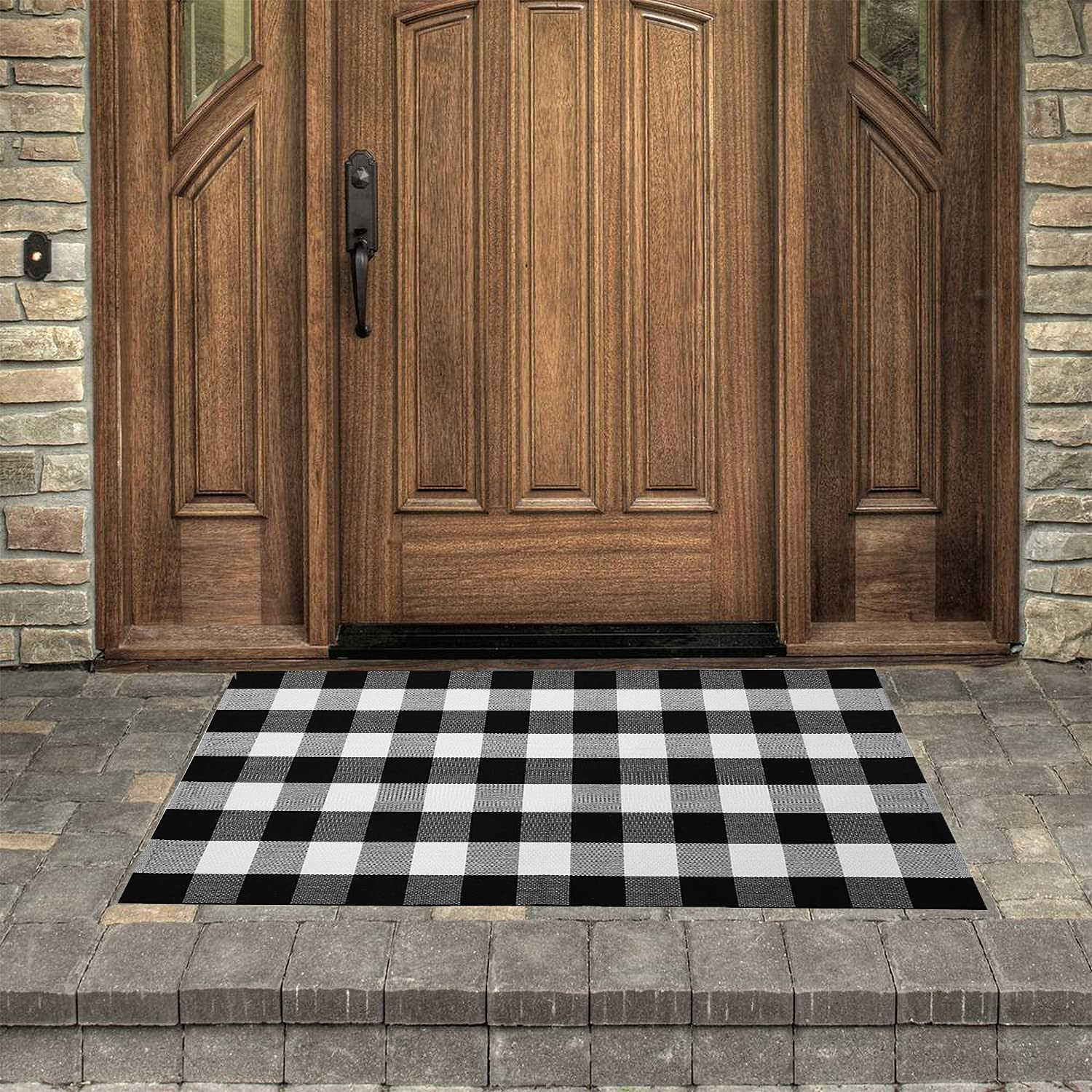 Dave Z-ONE Buffalo Check Rug, Reversible Indoor Woven Plaid Outdoor Door Mat for Front Porch/Layered Doormats Porch/Farmhouse Area Rugs, 3' x 5', Black/White