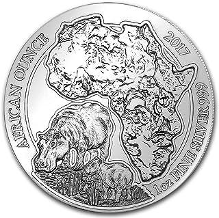2017 DE Rwanda 1 oz Silver African Hippo BU 1 OZ Brilliant Uncirculated