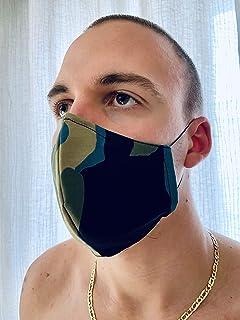Mascherina Unisex Lavabile 100% cotone verde-azzurro marrone mimetico militare e strass