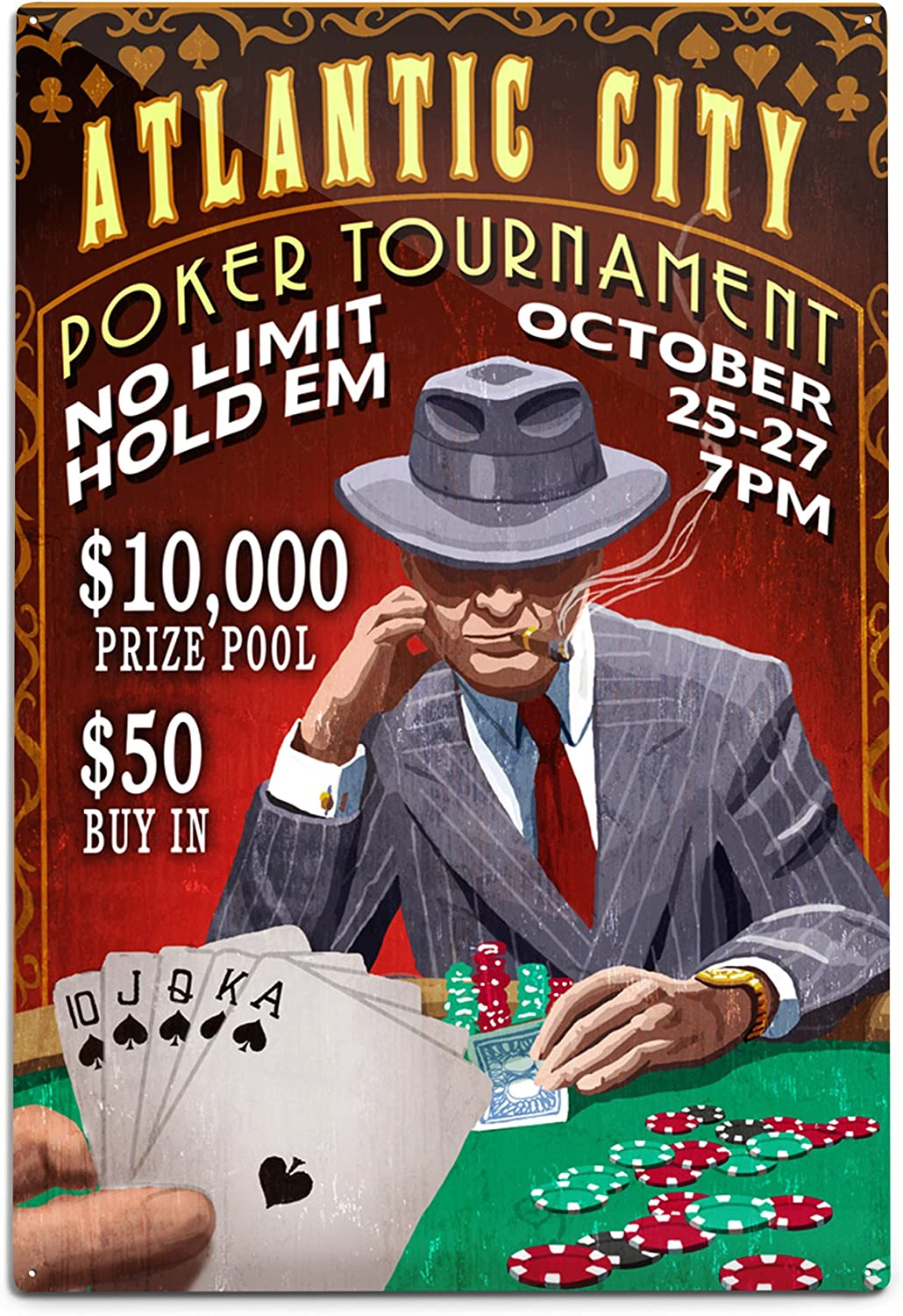 Lantern Press Atlantic City New Jersey 67% OFF of fixed price Vintag Poker Tournament Limited Special Price