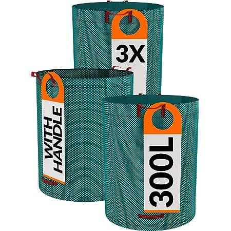 3 Sac de Jardin Verts Réutilisable - 300L - Etanche - Polypropylène Robuste - Sac à Dechets
