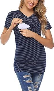 Aibrou Allaitement Manches Longues Court Femmes Vêtements de Maternité Haut Grossesse Haut de Allaitement T-Shirt de Super...
