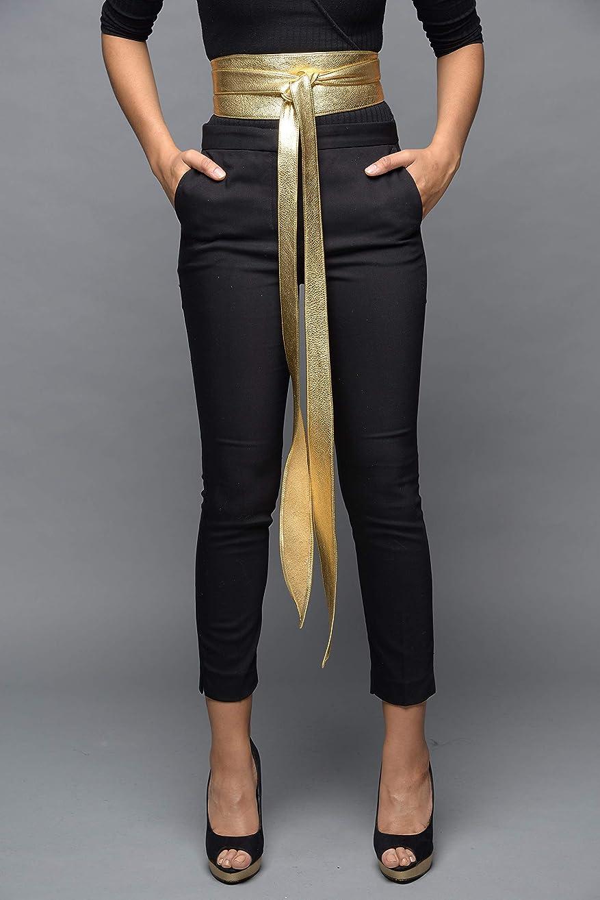 Leather handmade obi wrap belts - Gold