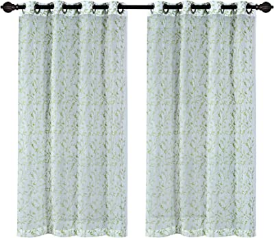 Deco Window 2 Piece Floral Sheer Eyelet Polyester Window Curtain - 5ft (60 inch), Green