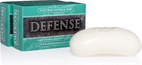 Defense Oatmeal Bar Soap 4 Oz (Pack of 2) - Natural Hydrating and Exfoliating Soap with Tea Tree Oil