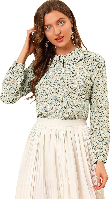 Allegra K Women's Casual Peter Pan Collar Floral Chiffon Top Shirt