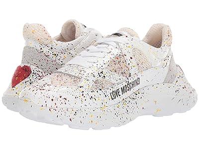 LOVE Moschino Super Heart Sneaker (Fantasy Print White) Women