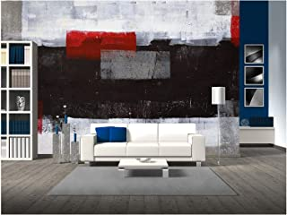 wall26 - Grey and Red Abstract Art Painting - Removable Wall Mural   Self-Adhesive Large Wallpaper - 100x144 inches