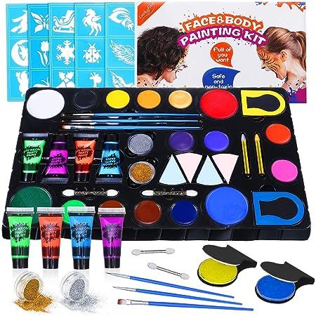 Luckyfine Kit de Pinturas Faciales y Corporales - 16 x Pinturas Corporales, 4 x Pinturas Fluroscentes UV Glow, 2 x Brillos, 2 x Tinte de Pelo - Seguro ...
