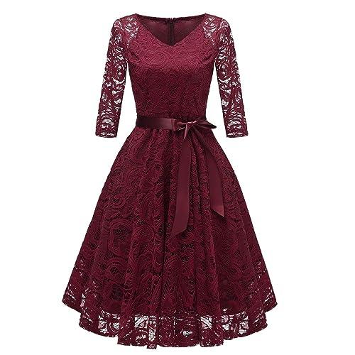 9bdbb769ca01 RAISEVERN Vestiti Donna Elegante Cerimonia 1 2 Lunghi Maniche con Una  Cintura Sera Abito Retro