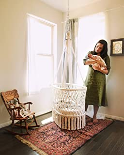 Hanging Crib in Macrame with 1 Handmade Mattress and 3 Cotton Covers