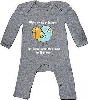 ShirtStreet Baby Strampler Langarm Schlafanzug Jungen Mädchen Vögelchen - Bitte nicht schubsen